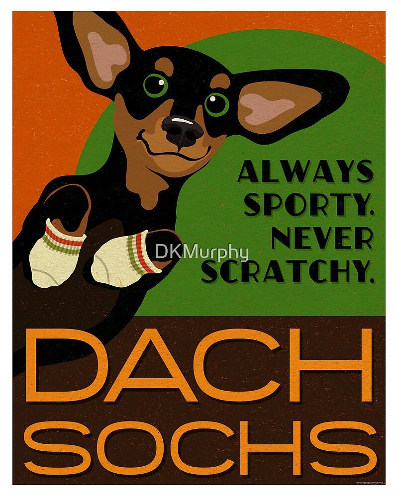 Happy Dachshund in Socks Retro poster design- original art by DKMurphy