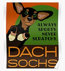 Happy Dachshund in Socks Retro poster design- original art Poster