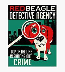 Red Beagle Detective Agency Retro Poster- original art Photographic Print