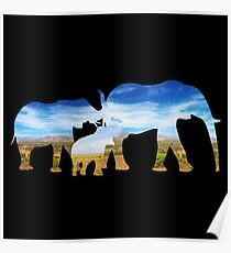 THREE ELEPHANTS, FAMILY - Father, Mother, Son or Daughter Poster