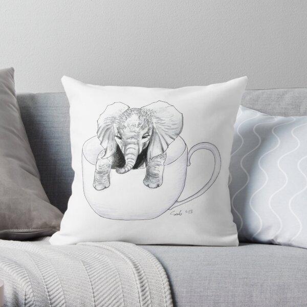 Little Elephant in a BIG mug Throw Pillow