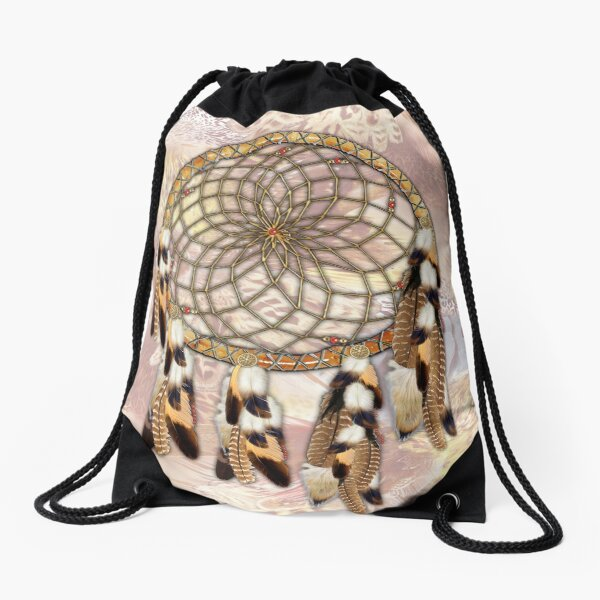 Brown Pelican or Hawk Dream Catcher  Drawstring Bag