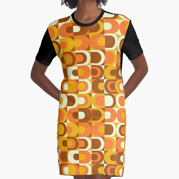70s Pattern Retro Inustrial in Orange and Brown Tones Graphic T-Shirt Dress