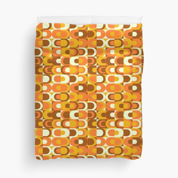 70s Pattern Retro Inustrial in Orange and Brown Tones Duvet Cover