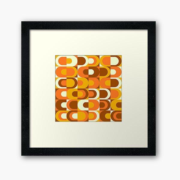 70s Pattern Retro Inustrial in Orange and Brown Tones Framed Art Print