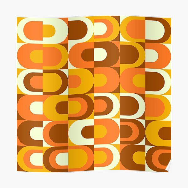 70s Pattern Retro Inustrial in Orange and Brown Tones Poster