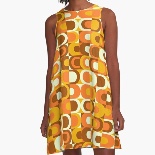 70s Pattern Retro Inustrial in Orange and Brown Tones A-Line Dress