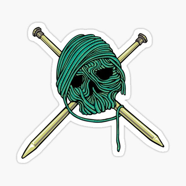 Knitter Skull & Needles Sticker