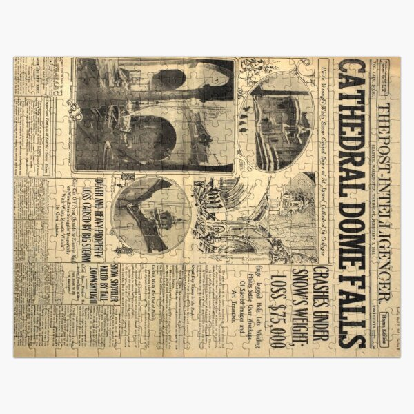 Old Newspaper - Cathedral Dome Falls Jigsaw Puzzle