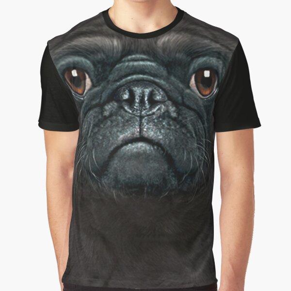 Mens Womens Cute Black Pug Face 3D Gift - Lover  Black Pug Dog Graphic T-Shirt