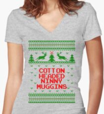 Cotton Headed Ninny Muggins Ugly Christmas Sweater Women's Fitted V-Neck T-Shirt