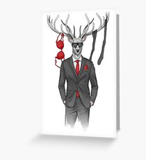 image of man with deer's head and lingerie items on horns Greeting Card