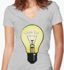 stay lit, stay hungry Women's Fitted V-Neck T-Shirt