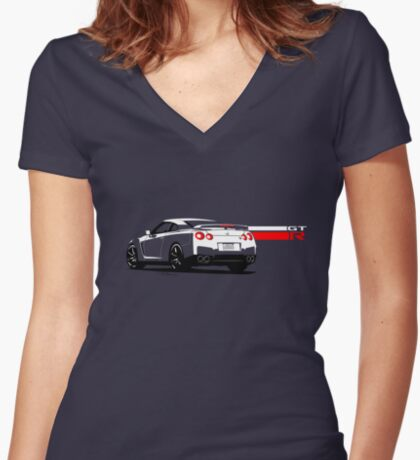 Nissan GT-R Women's Fitted V-Neck T-Shirt