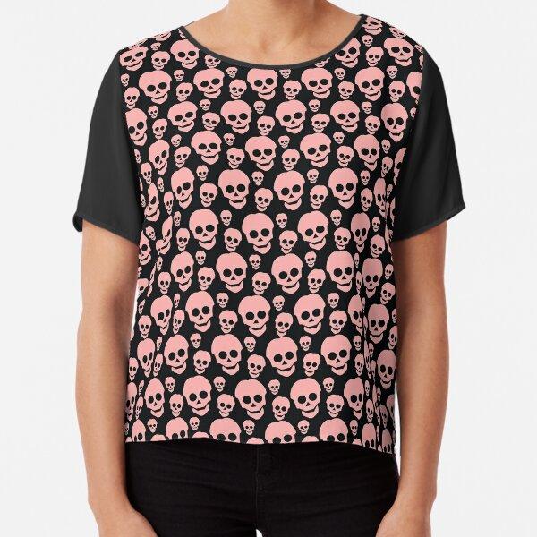 Pink Coral Skull Pattern Chiffon Top