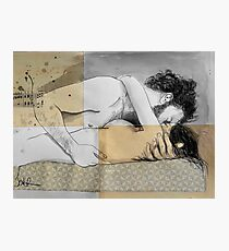 lovers on a patterned mattress Photographic Print