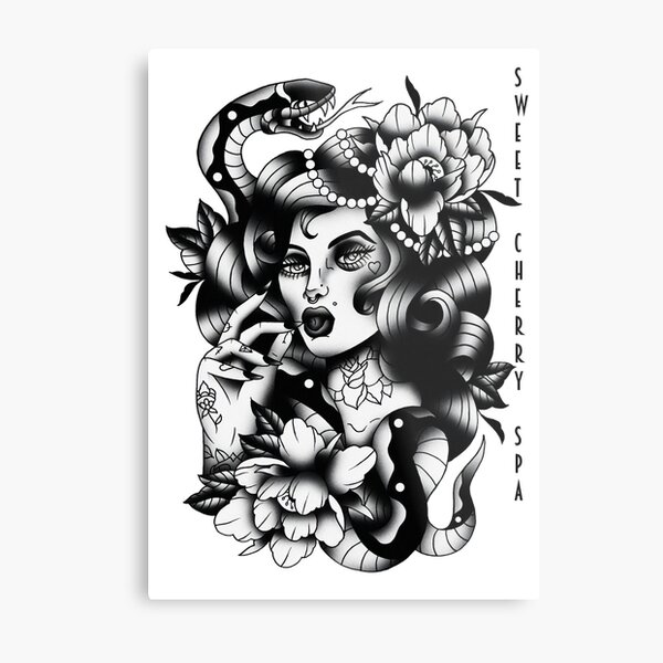 Sweet Cherry Spa Pinup Tattoo Metal Print