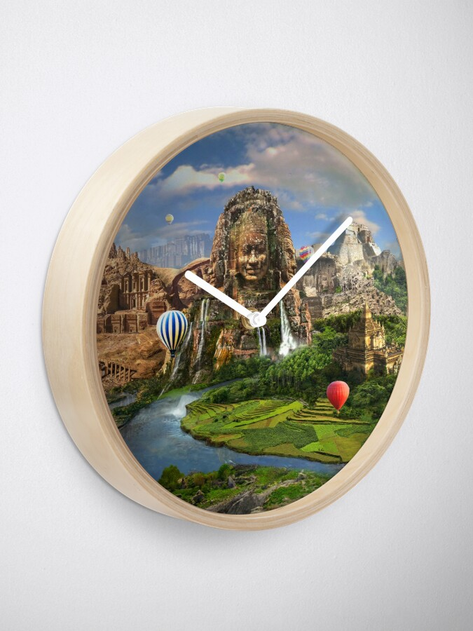 Alternate view of Valley Of The Temples - spiritual, peaceful temple art coexist Clock