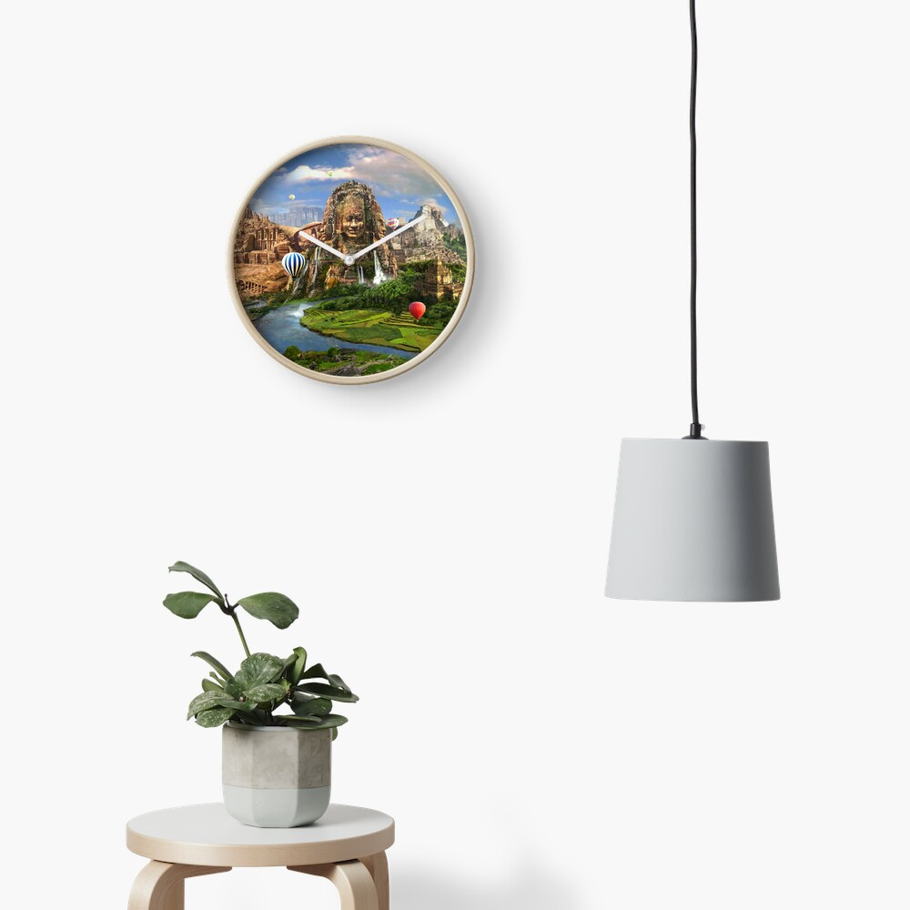 Valley Of The Temples - spiritual, peaceful temple art coexist Clock