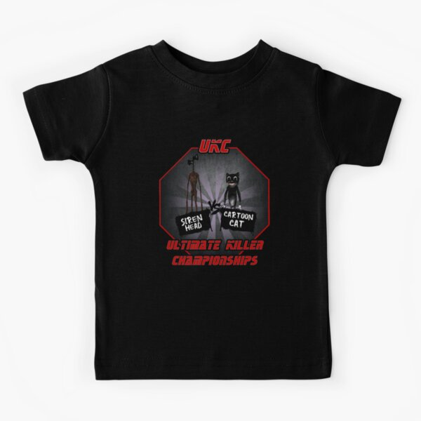 Sirenhead Siren vs Cartoon cat Horror Character, Are you afraid  Kids T-Shirt