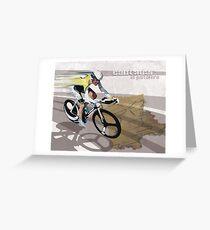 retro cycling poster Contador El Pistolero Greeting Card