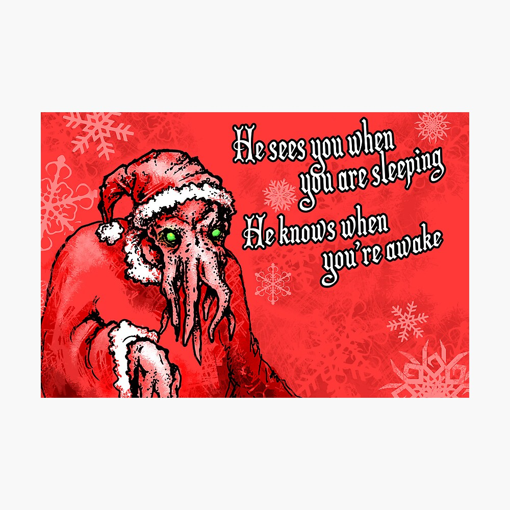 Cthulhu Claus Is Coming to Town Photographic Print