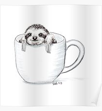 Sloth in a Cup Poster