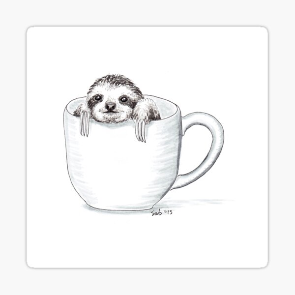Sloth in a Cup Sticker