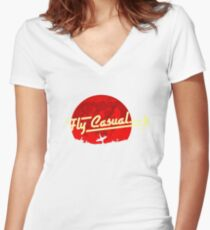 Fly Casual Women's Fitted V-Neck T-Shirt