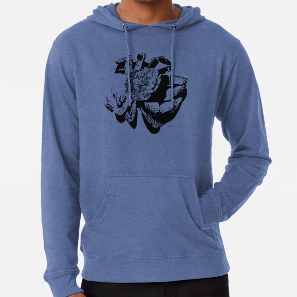 Crab Silhouette - Pen and Ink Art Lightweight Hoodie
