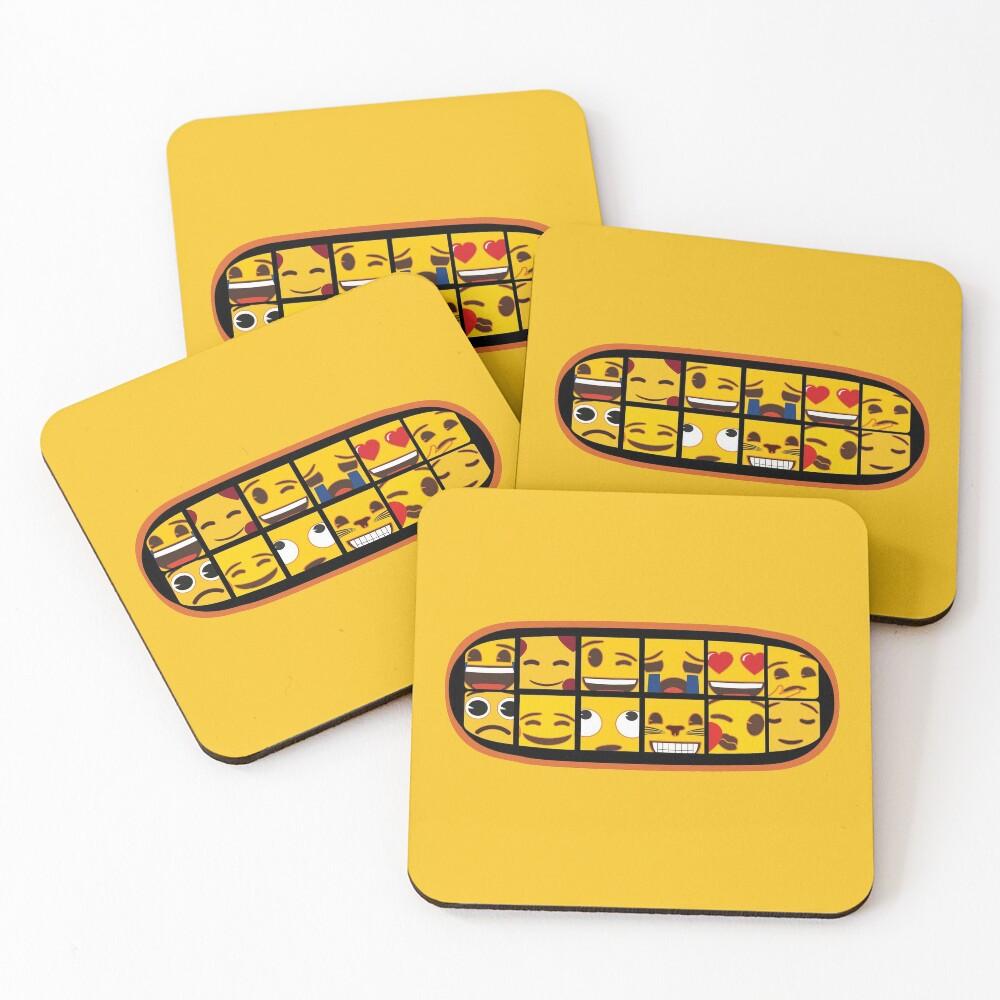 Toothy emoji smile Coasters (Set of 4)