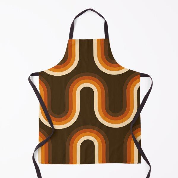 70s Pattern Orange and Brown Waves Apron