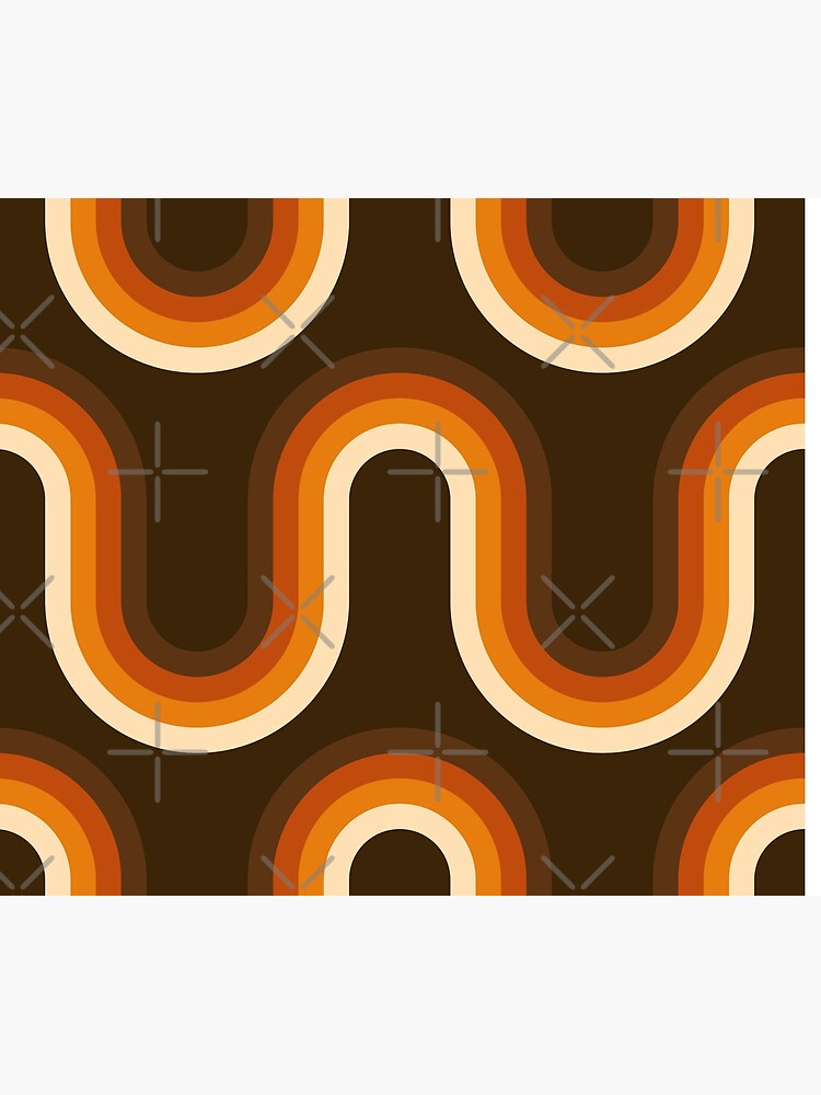 70s Pattern Orange and Brown Waves by Pattern-Queen
