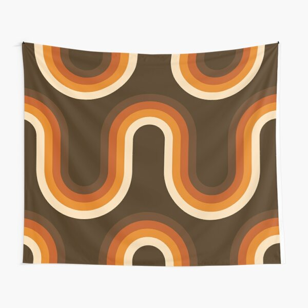 70s Pattern Orange and Brown Waves Tapestry
