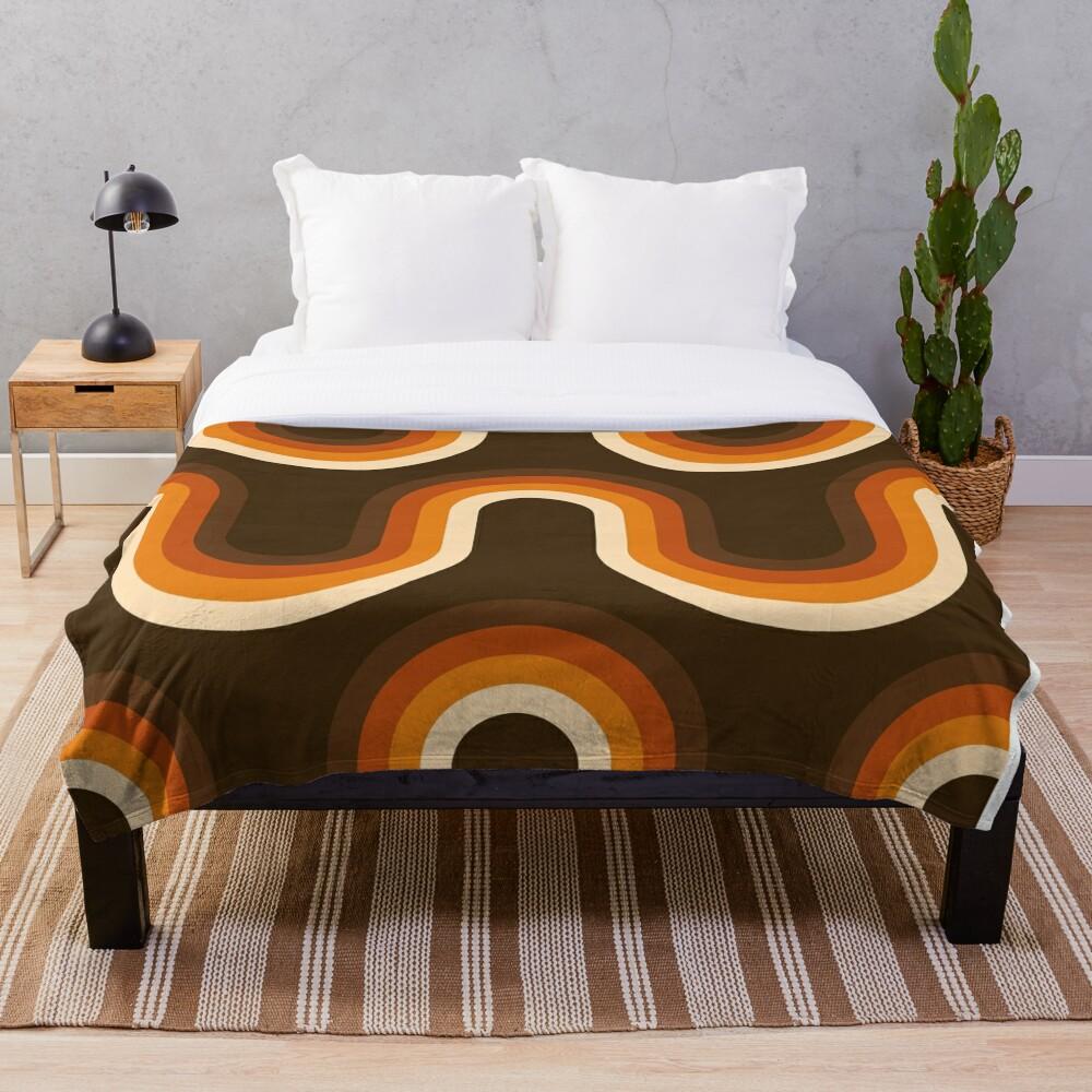 70s Pattern Orange and Brown Waves Throw Blanket