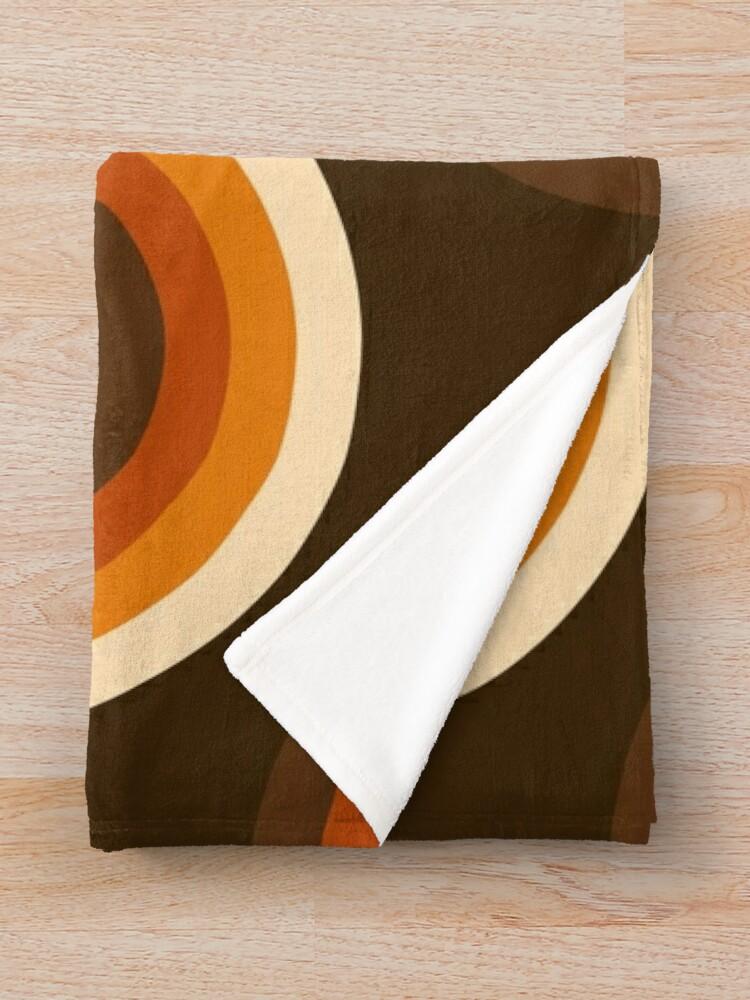 Alternate view of 70s Pattern Orange and Brown Waves Throw Blanket