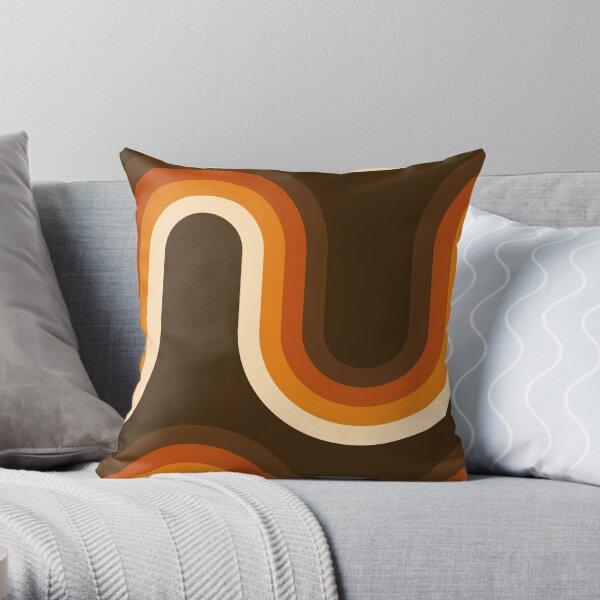 70 patrón de ondas naranjas y marrones Cojín