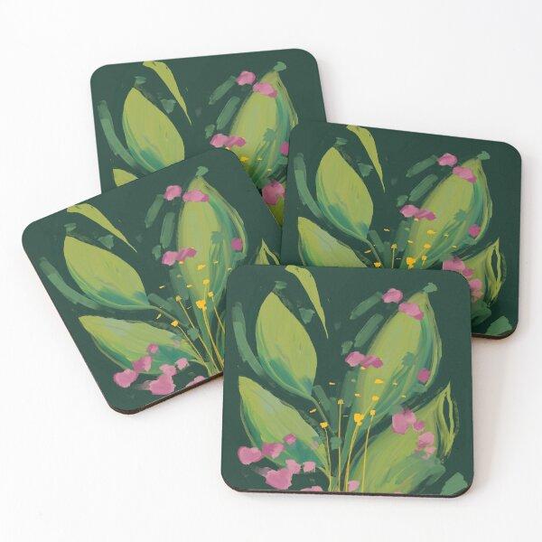 night bloom - green plants art Coasters (Set of 4)