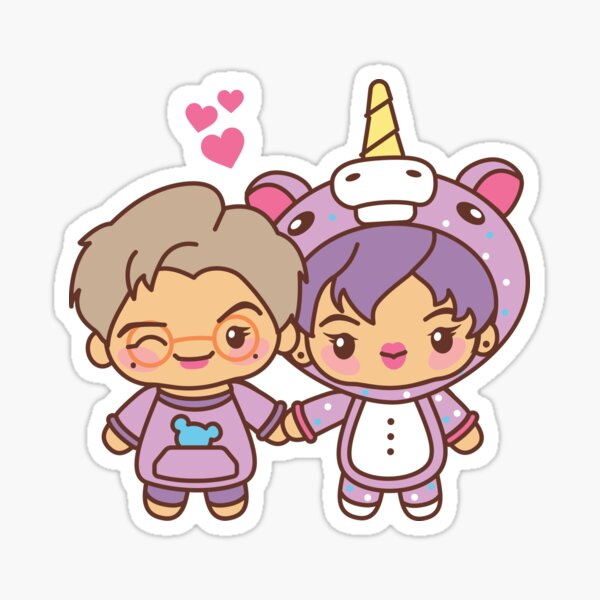 Namjin Pajama Party - BTS Namjoon and Jin in PJ's ~BTS Pajama Party~ Sticker