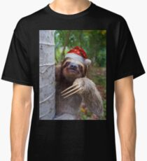 Christmas animal sloth wearing santa hat Classic T-Shirt
