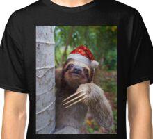 Christmas animal sloth wearing santa hat Classic T-Shirt