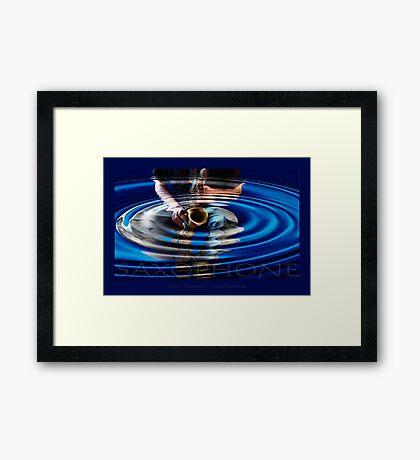 saxophone - blue Framed Print