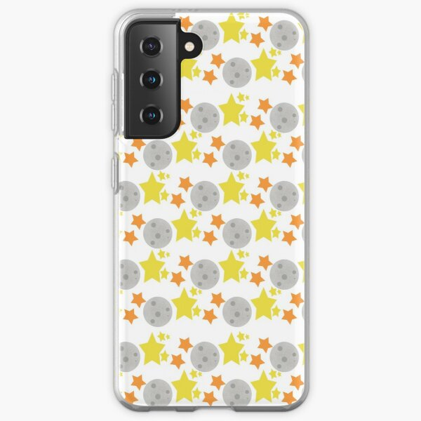 Space Moon with Orange and Yellow Stars Samsung Galaxy Soft Case