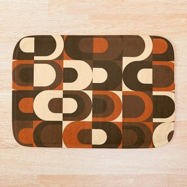 70s Pattern Retro Inustrial in Orange and Dark Brown Bath Mat