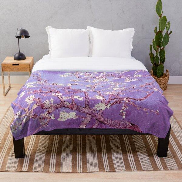 Vincent Van Gogh almond blossoms lavender violet Throw Blanket