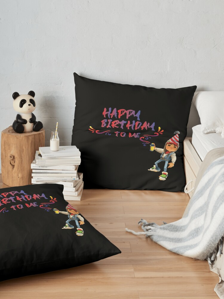 Alternate view of subway surfers Happy Birthday to me Floor Pillow