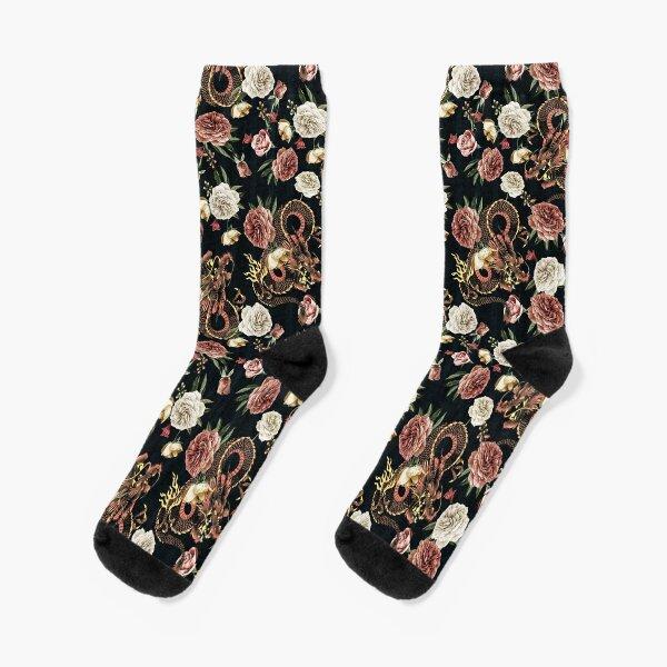 Chinoiserie Dragon and Peony Print Socks