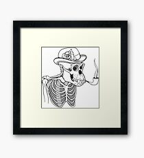 black and white skeleton of gorilla smoking pipe and wearing hat with flower Framed Print