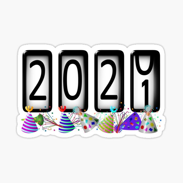New Years Odometer Party Hats 2021 Sticker