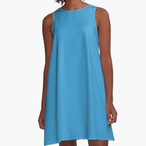 Steel Blue Color A-Line Dress
